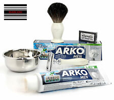 Double Edge Safety Razor Vintage Style Shaving Set Badger Brush, ARKO,Wilkinson