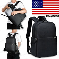 Black SLR Camera Bag Backpack Case For Canon Nikon Sony Leica Pentax Fujifilm