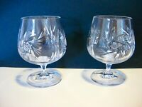 Vintage Bohemia Cut Lead Crystal Pinwheel Brandy Glasses Set of 2