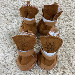 ACL DOG  puppy Boots SIZE 5 small WINTER BOOTS SET SHOES MOCCASINS Brown NEW