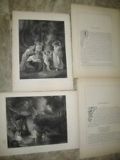 2- 1853 Photogravures Engravings by Painter-T. Stothard- CUPID BOUND/THE BATHERS