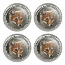 Red Fox Kit Portrait Metal Craft Sewing Novelty Buttons - Set of 4
