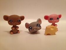 Littlest Pet Shop Three Mouse Lot with Cheese Wedge-Gray,Brown,Pink lps