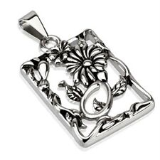 Stainless Steel Flower with Nature Inspired Frame Pendant P221