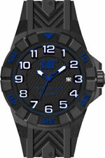 Mens Caterpillar CAT Special OPS K212121116 Black Rubber Blue Accent Date Watch