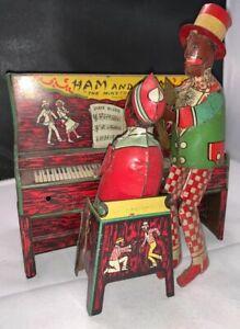 Old Tin Wind up Piano Ham and Sam The Minstrel Team Black Americana Strauss