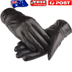 Men's Autum Winter Classic Genuine Leather Gloves Lambskin Mittens Driving Black