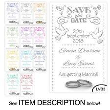 50 Save the Date Wedding Magnet Cards+ Envelopes Personalised Vintage Love Birds