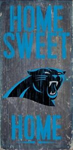 """Fan Creations - Carolina Panthers Wood Sign - Home Sweet Home 6""""x12"""""""