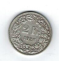 Moneda Suiza 2 francos suizos 1928 plata.835 silver coin Helvetia