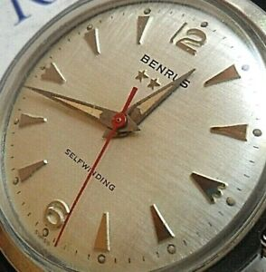 V Clean Vintage S/S Men's 1960's Benrus 3 Star Selfwinding Automatic Swiss Watch