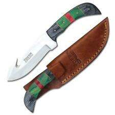 "Hunting Knife 7.5"" Overall Gut Hook Skinner Red/Green/Black Wood Handle + Sheath"