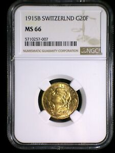 Switzerland 1915 Gold 20 Francs *NGC MS-66* High Grade Great Investment Gold