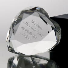 Personalised Engraved Crystal Clear Heart Glass Paperweight Wedding Anniversary