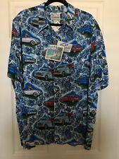Reyn Spooner Mens Blue Chevrolet Chevy Holiday Christmas Hawaiian Shirt XL