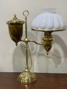 Antique Edward Miller Brass Student Desk Oil Lamp Electrified