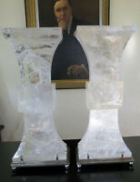 Large Pair of Contemporary Mid Century Rock Crystal Quartz Table Lamps STUNNING!