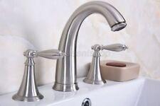 Brushed Nickel Bathroom Basin Faucet Widespread 3 Hole 2 Handle Mixer Tap Bbn016