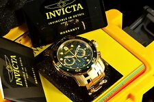 Invicta 48MM Pro Diver Scuba Emerald Green Dial 18K GoldPlated SS Bracelet Watch