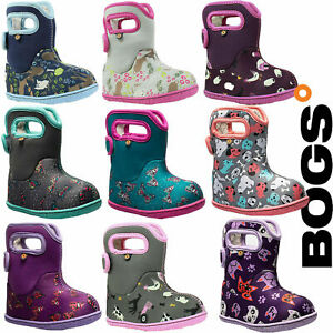 Bogs Wellies Boots Waterproof Baby Girl Warm Insulated Fur Lined -10c Childrens