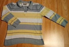 Womens Ladies light green striped top Blouse 3/4 sleeve size 10 UK 38 Eur