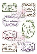 Vintage Labels Greetings Clear Unmounted Rubber Stamp Wild Rose Studio CL302 New