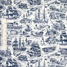 Nautical Fabric - Ancient Mariners Lighthouse & Boats Blue Beige - Springs YARD