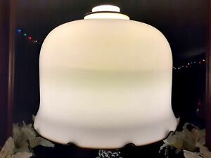 Vintage French Handblown Vianne Lampshade Cream w/ Brown Ruffled Edge France
