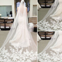 Women Elegant Lace Bridal Long Veil Wedding Church Cathedral Length With Comb