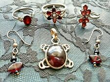 Garnets Rings, Turtle Pendant, Earrings Lot of 6! Sterling Silver Flower Cluster