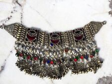 ANTIQUE CHINESE TIBET HAND MADE CHOCKER NECKLACE WOITH LOW% SILVER & GLASS