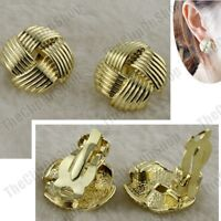 CLIP ON 20mm texture GOLD FASHION EARRINGS vintage style 80s KNOT CHUNKY CLIPS