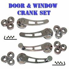 Universal Chrome Window Crank & Door Handle Set for Muscle/Classic Cars & Trucks