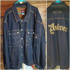 Avirex USA Black Denim Jean Jacket Hip Hop 90s Embroidered  BIG Heavy  3XL XXXL