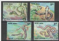 INDIA 2003 Snakes Fauna Animals Nature cobra Python Viper stamp set MNH 4v
