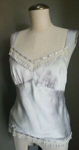 (6) Ann Taylor Dove Gray Lace Ruffle Trimmed - Camisole Top Silk Satin EUC