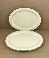 "Melamine Oval Plates Set of 3 Beige 9"" X 7"" Hard Plastic Zak!"