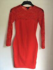 Stunning Long Sleeve Ladies Mini Lace Orange Dress Size Xs H&M Sweetheart Neck