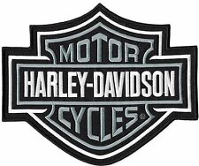 XL HARLEY BAR AND SHIELD Grey Motorcycle BACK PATCH IRON ON Jacket LARGE 9.25""