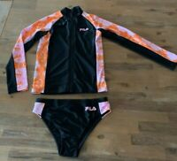 Girls size 10 FILA Black with colours zip Rash top brief swim set  bathers NEW