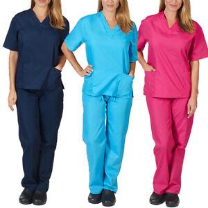 2Pcs/Set Women Men Nursing Medical Scrub Suit Doctor Nurse Uniform Tops Pants