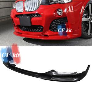 Carbon Fiber Front Bumper Lip Spoiler For BMW X4 F26 M-TECH M Sport 2014-up