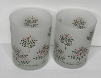 2 - Barbara Gould Cera Frosted Old Fashioned Glasses Christmas Trees & Dove 1981