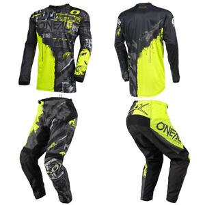 O'Neal Element Ride Neon Jersey Pants motocross MX dirt bike gear package combo