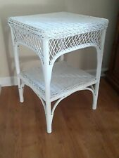 White Rattan Wicker End /Side Table, Night stand.