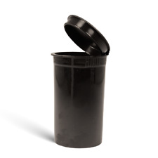 Full Case - 225 PCs - 19D Black - Squeeze Pop Top Container Medical Vial Storage