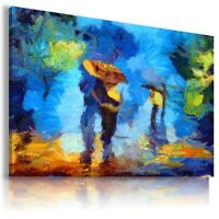 PAINTING WALKING IN THE RAIN Modern PRINT Canvas Wall Art Picture Large BA1 X