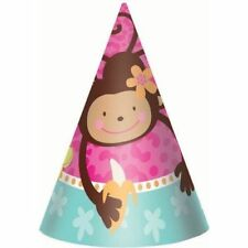 MONKEY LOVE Party Hats Birthday Party Supplies 8-pc