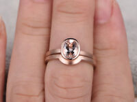 2.00ct Oval Morganite & Diamond 14K Rose Gold Over Solitaire Wedding Bridal Ring