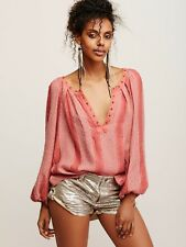 160536 NWT Free People Against All Odds Studded Desert Sunset Blouse Top Small S
